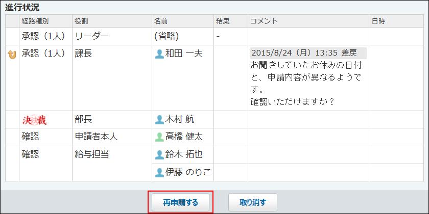 再申請するボタンが赤枠で囲まれた画像