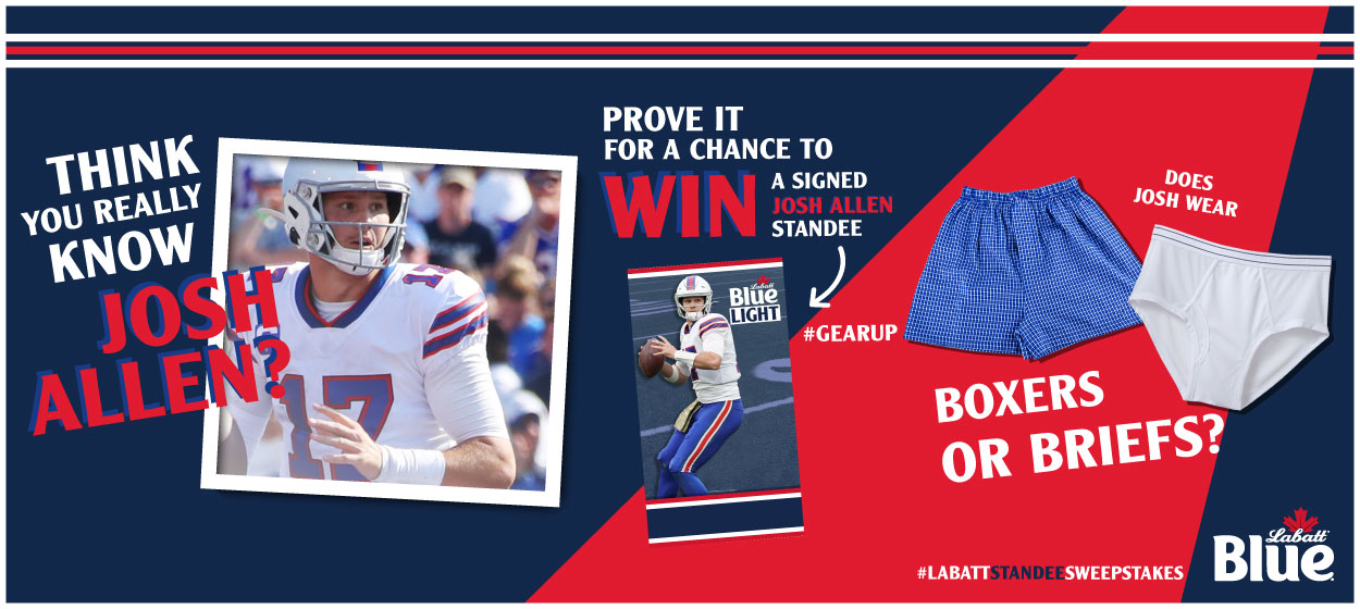 Think you know Josh Allen? Prove it for a chance to win a Signed Josh Allen Standee