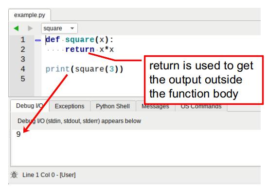 python function return variable