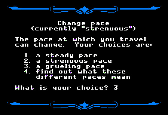 Screen to Select the Pace in the game Oregon Trail