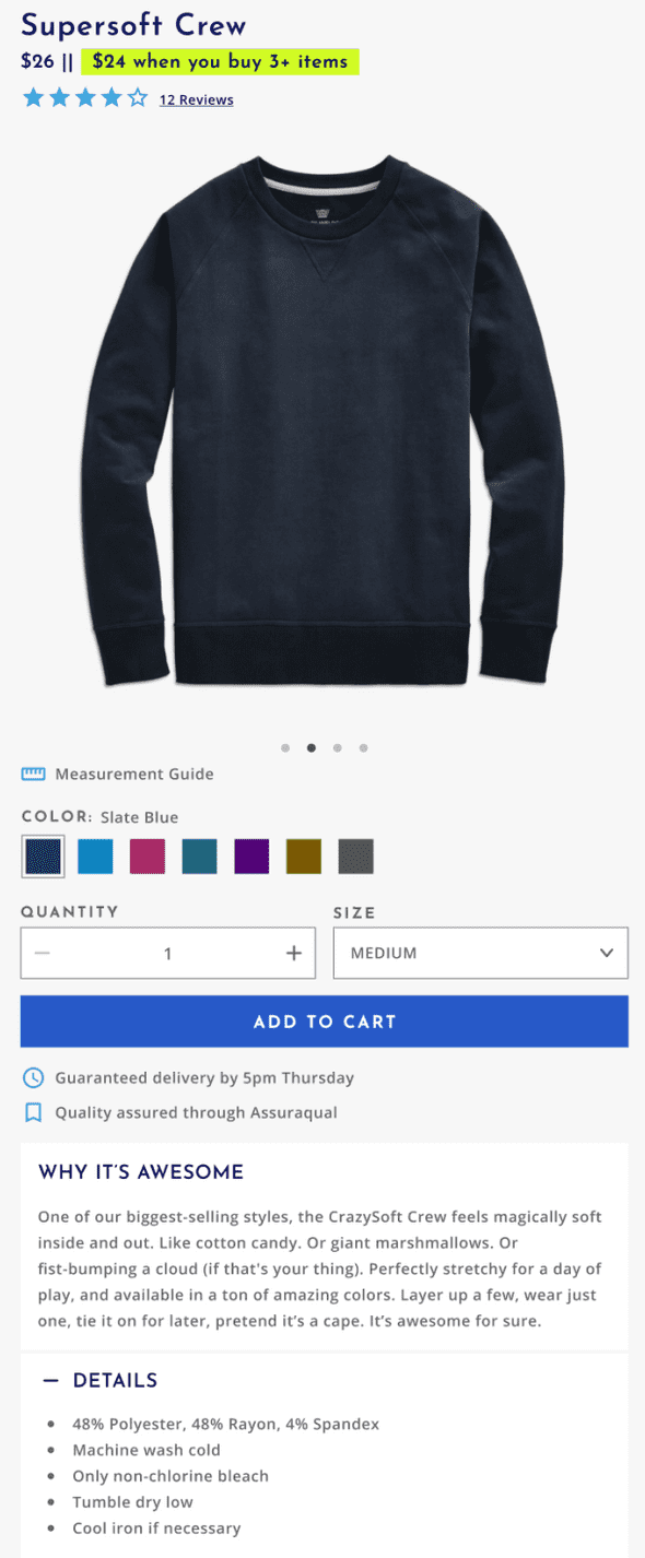 A generic page for a fake t-shirt brand made out of multiple layout components.