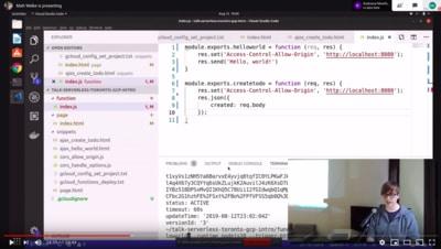screengrab from GCP serverless talk recording