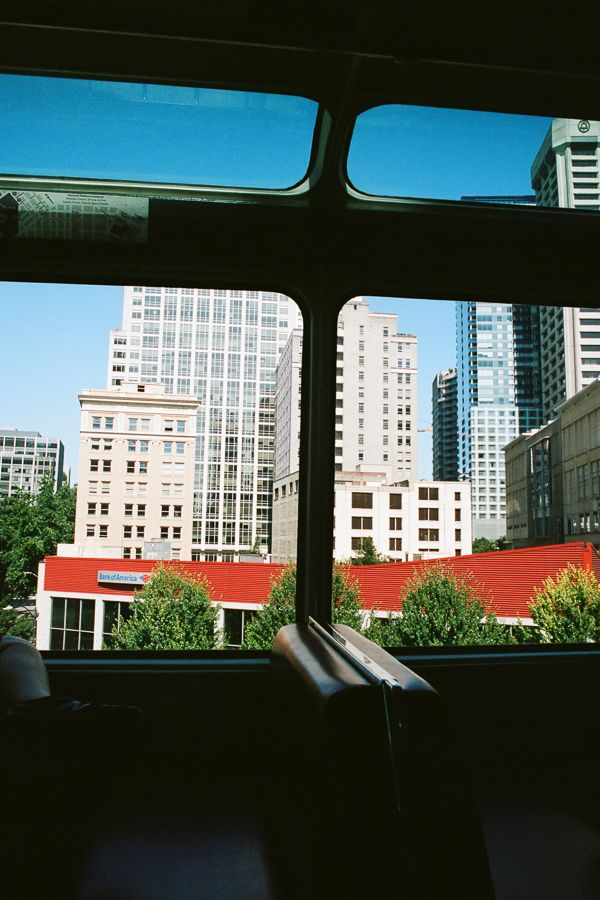 Seattle cityscape, sceen through the windows of the monorail.