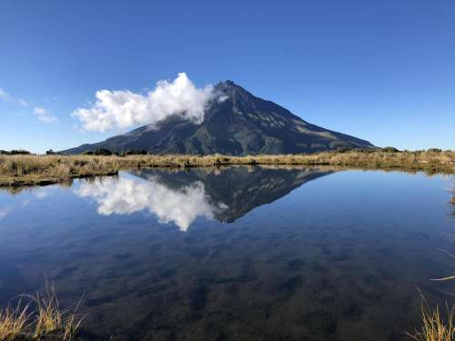 Mount Taranaki and Pouakai Tarn