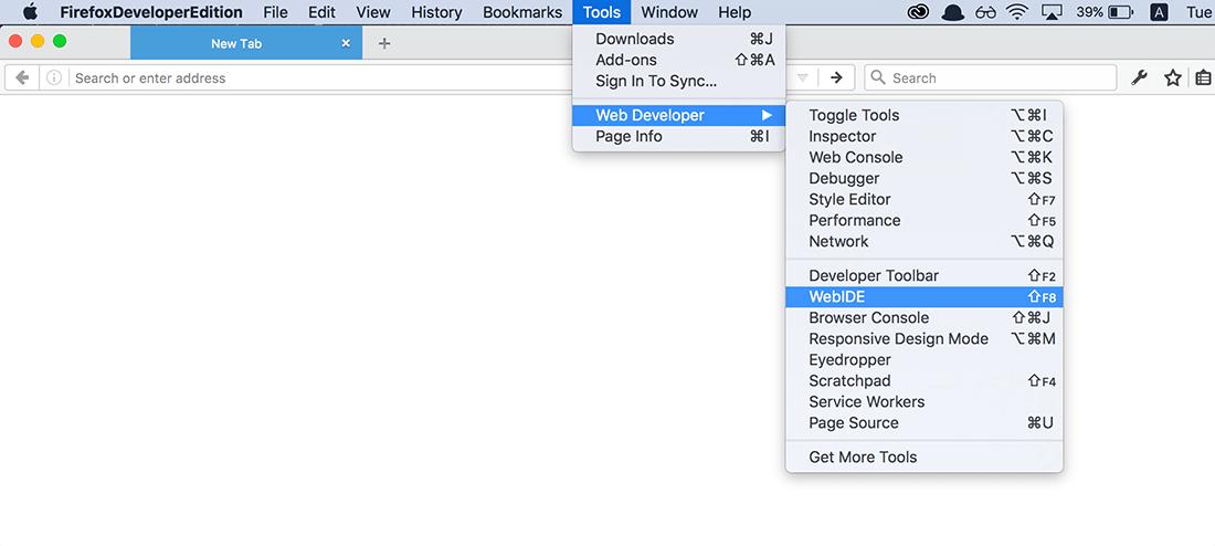 เปิด WebIDE จากเมนู Tools > Web Developer > WebIDE
