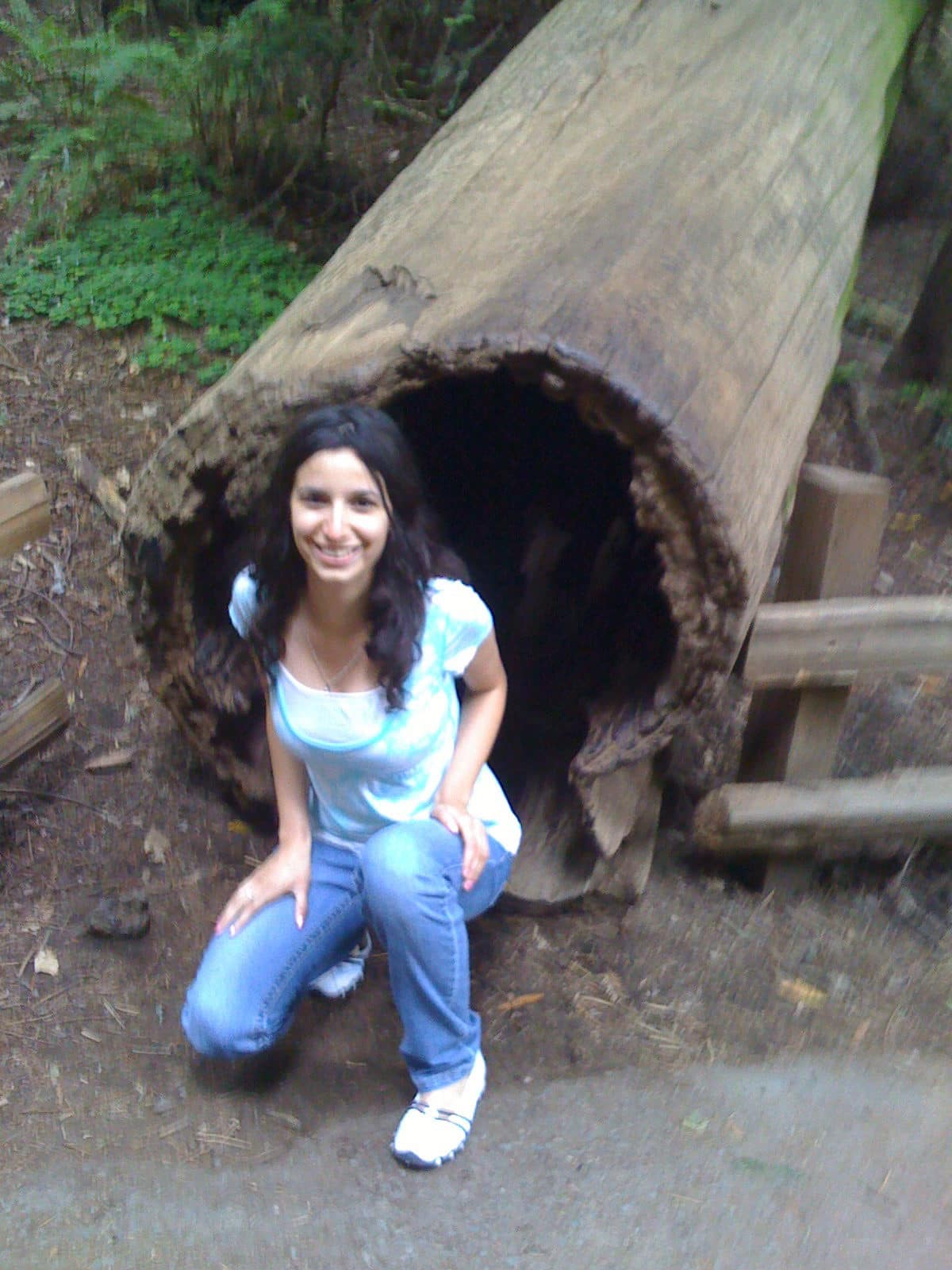 mariam and a log
