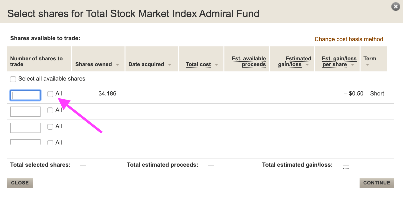 Vanguard fund selection page