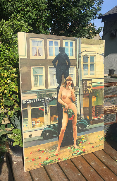 painting of naked woman standing holding roses in front of a statue on a high street