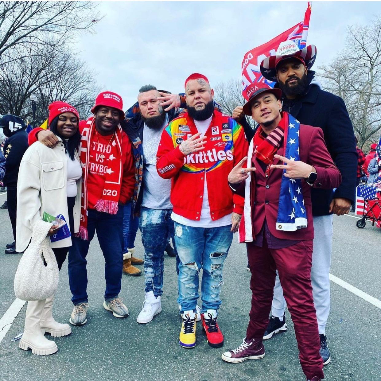 Pro-Trump rappers posing in DC.