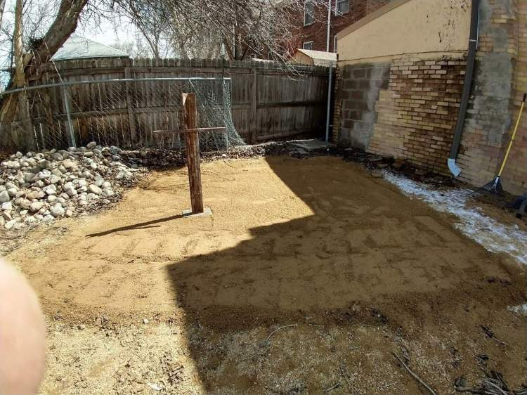A level bed of crushed gravel, in the backyard. From Mr Money Mustache.