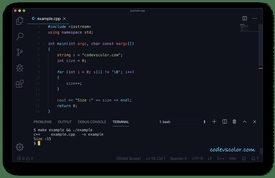 C++ string length loop