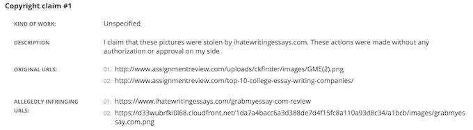 False copyright claim #1