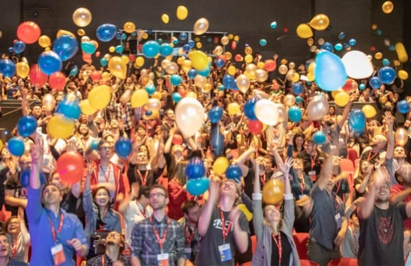 A lot of balloons at SmashingConf SF 2019.