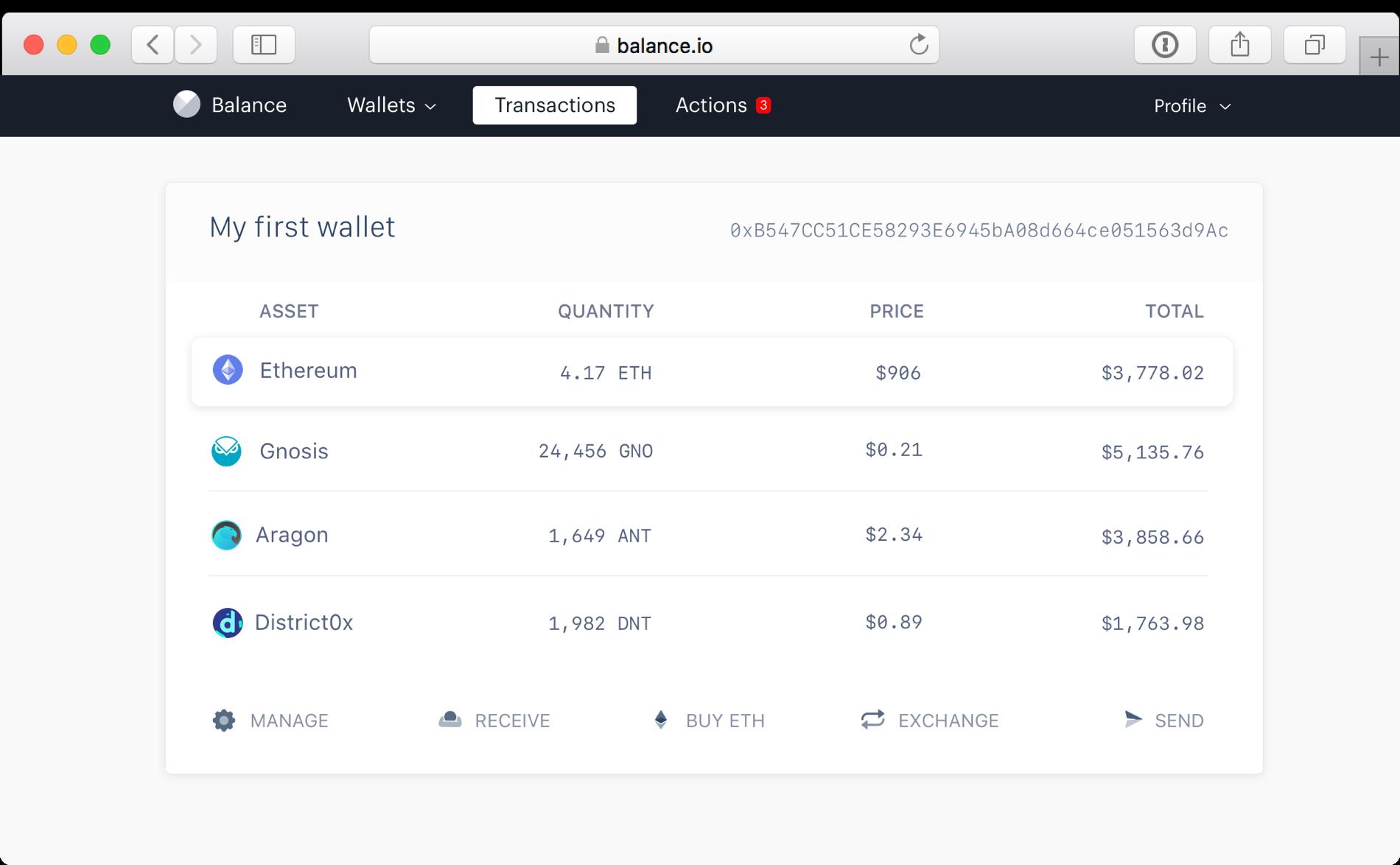 Balance Ethereum Wallet