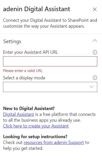 Digital Assistant web part configuration pane