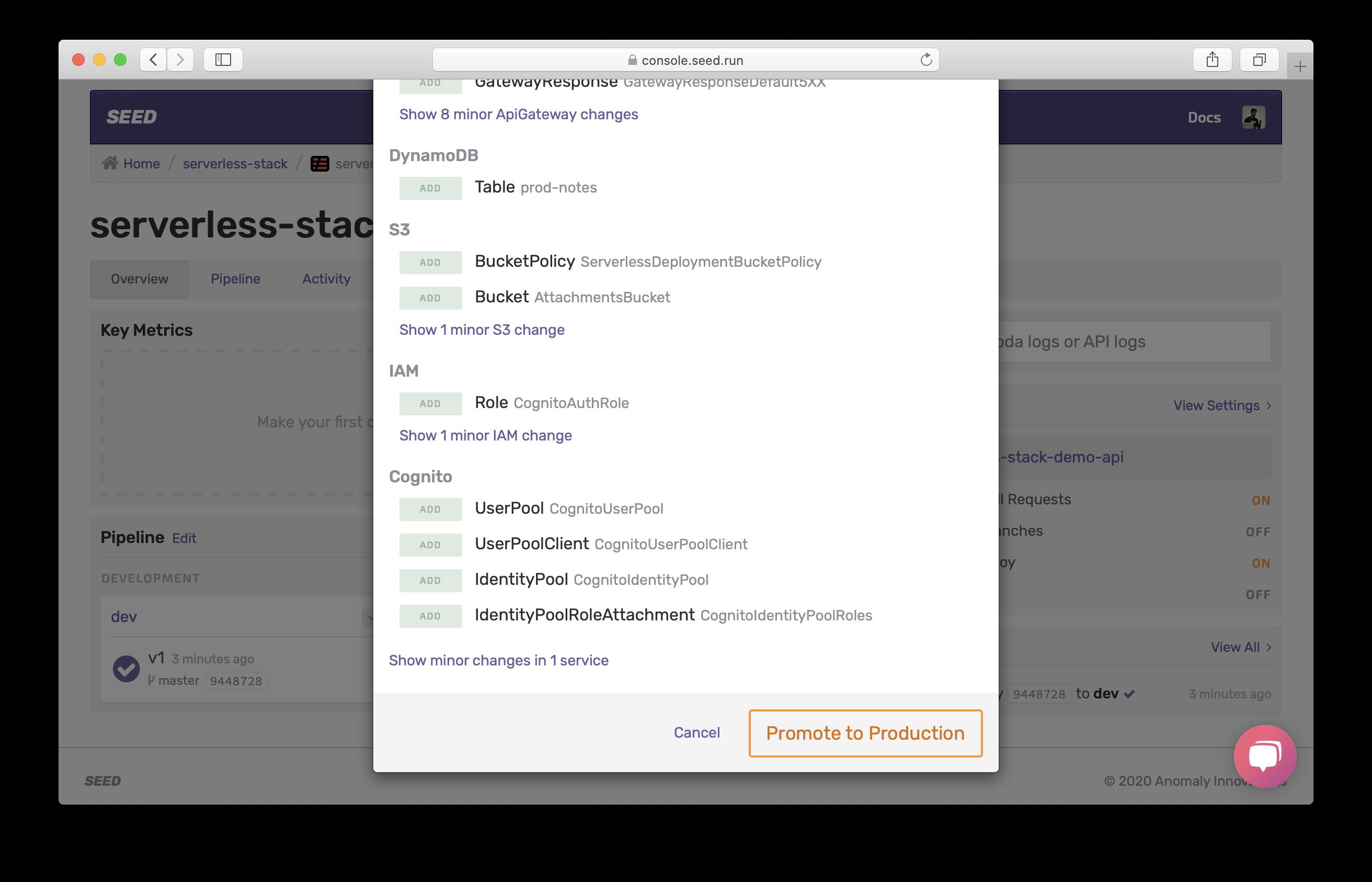 Confirm promote dev build screenshot