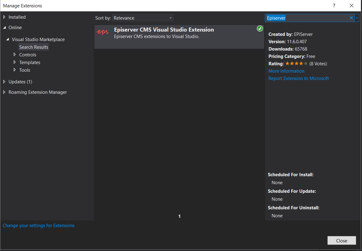 Visual Studio Episerver extension