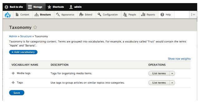 Taxonomy Screenshot