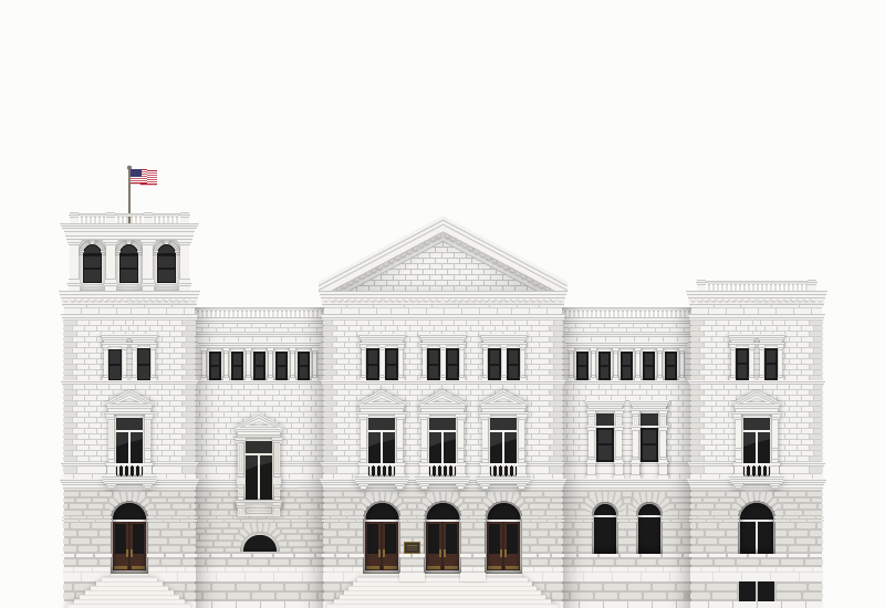 A simple vector illustration of a large stone post office in downtown Charleston