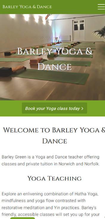 Barley Yoga & Dance website frontpage on a mobile