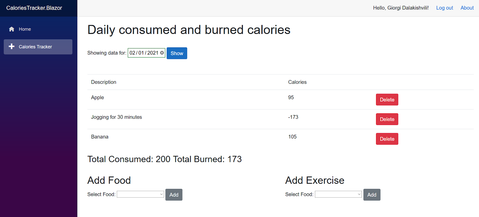 Screenshot of CaloriesTracker interface showing 'Daily consumed and burned calories'