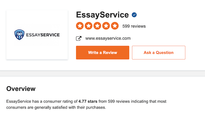 reviews on Sitejabber about essayservice.com