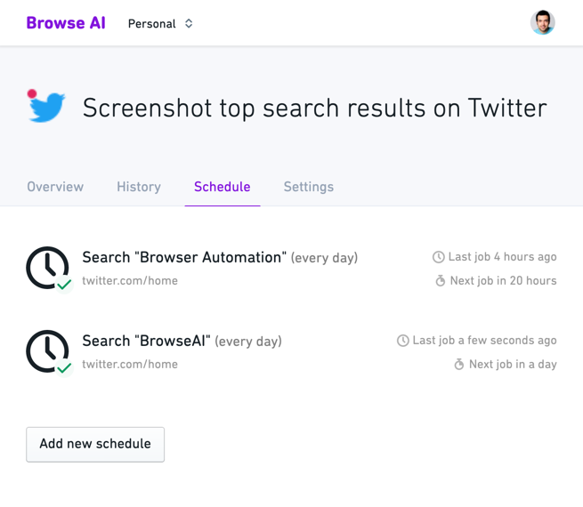 Monitor - Screenshot top search results on Twitter - Browse AI