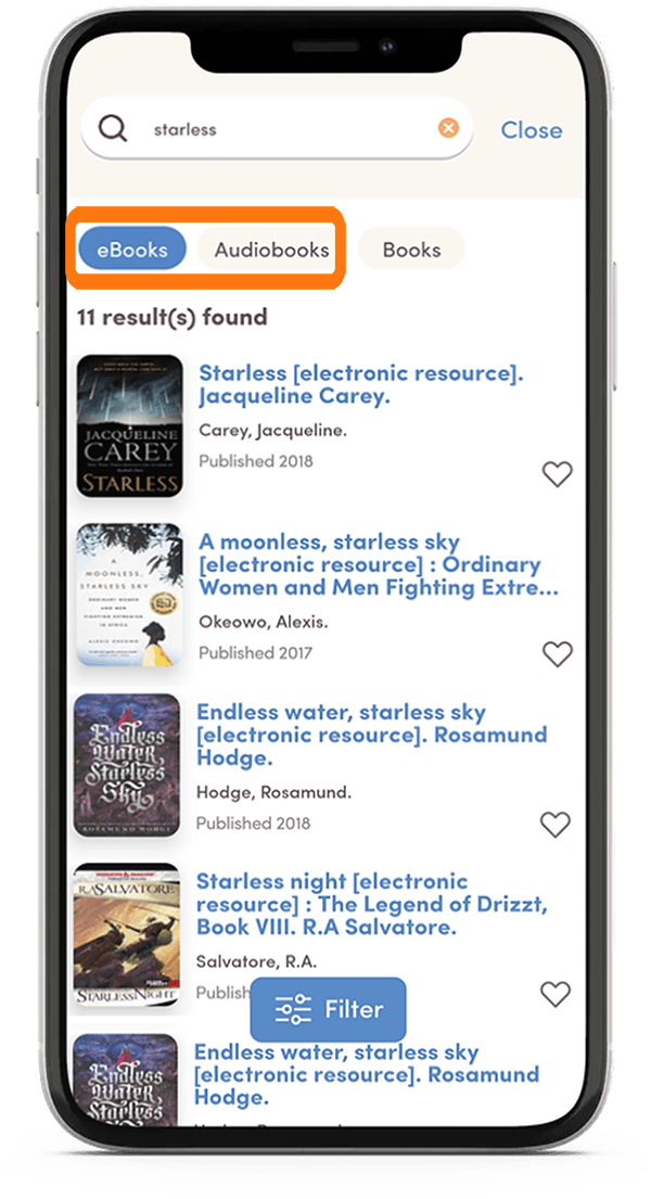 A tutorial screenshot for the app, showing how to filter search results by ebooks or audiobooks only.