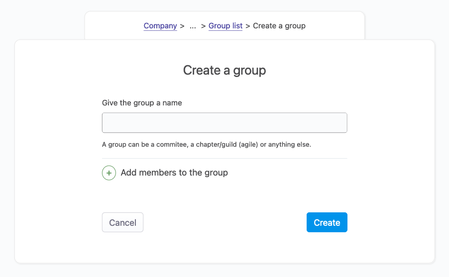 image of the group creation
