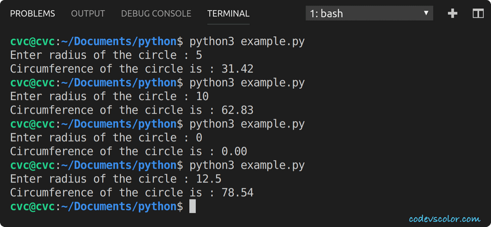 python find circumference circle example