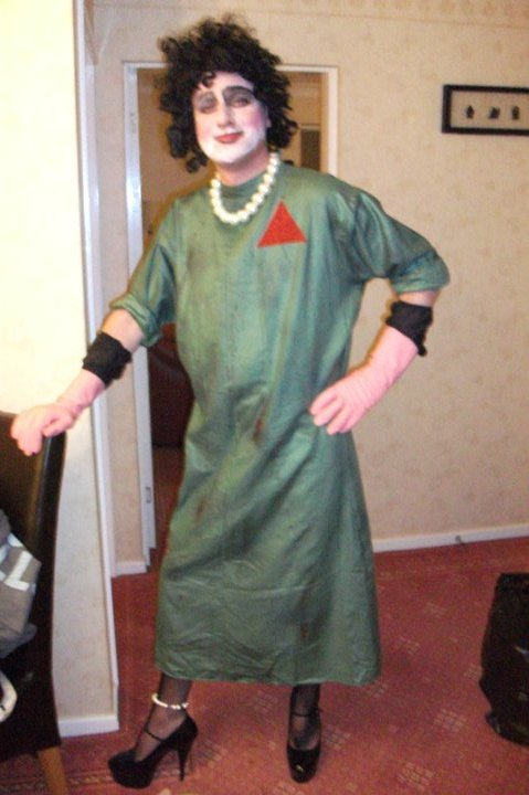 Gareth in his Frank Lab Gown worn for the 2010 tour of The Rocky Horror Show