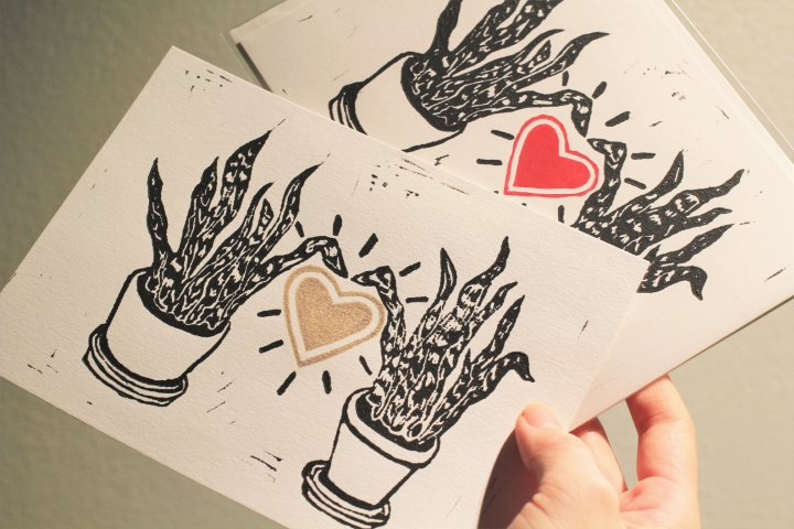 SNAKE PLANT LOVE, linocut print on paper, 2020.