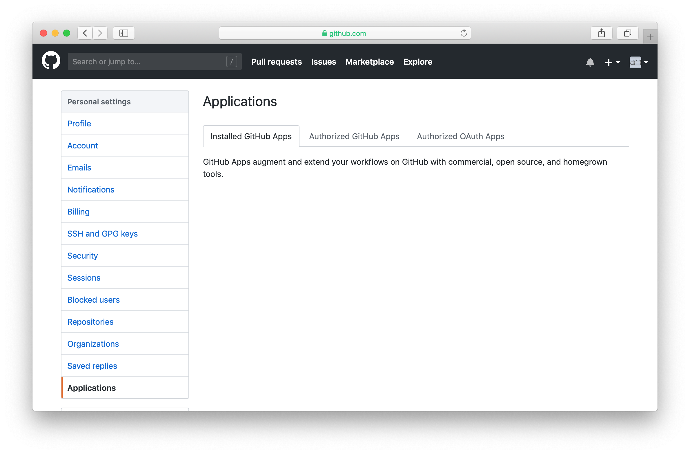 Click Authorized OAuth Apps in GitHub