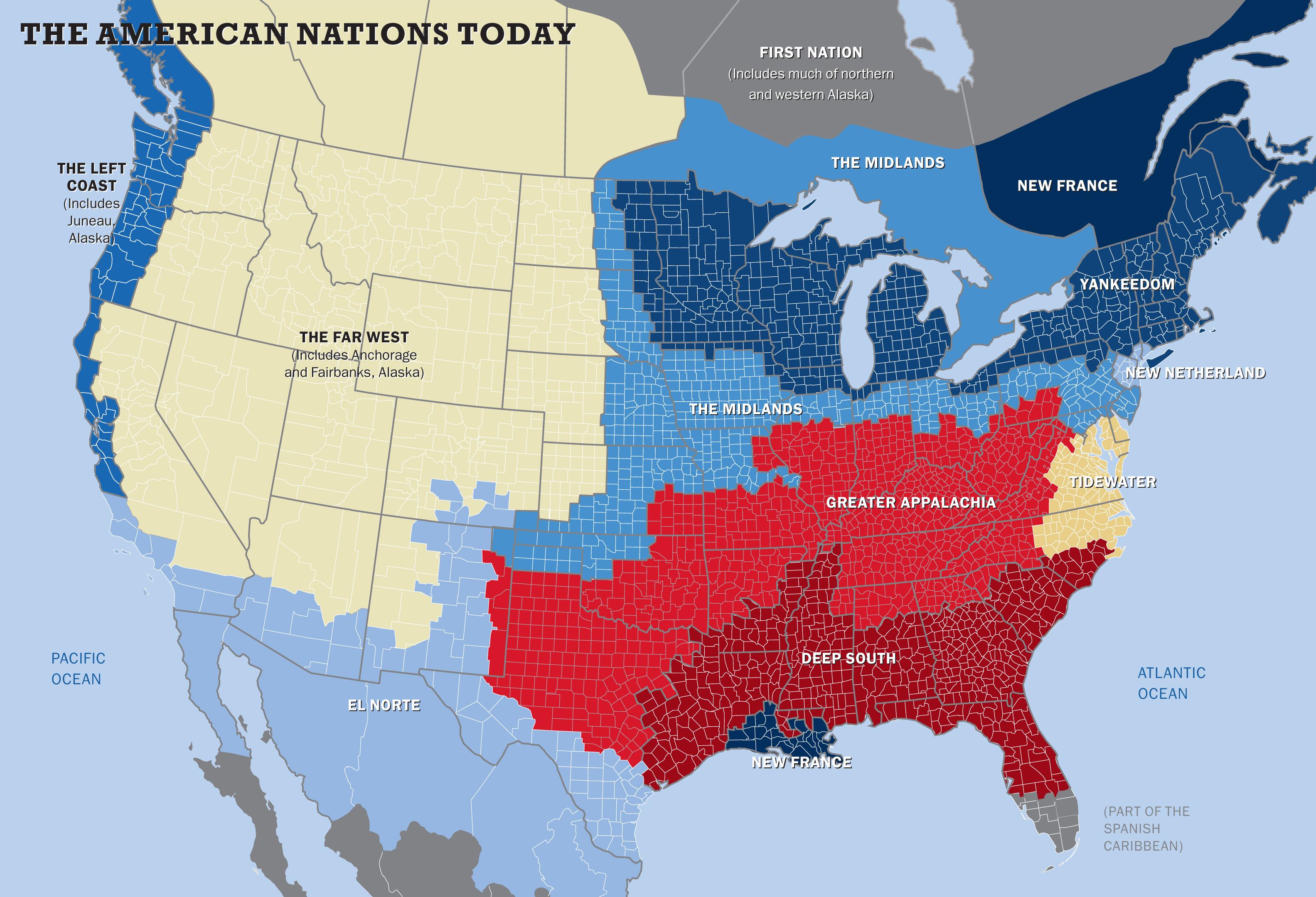 Karta över de 11 nationerna