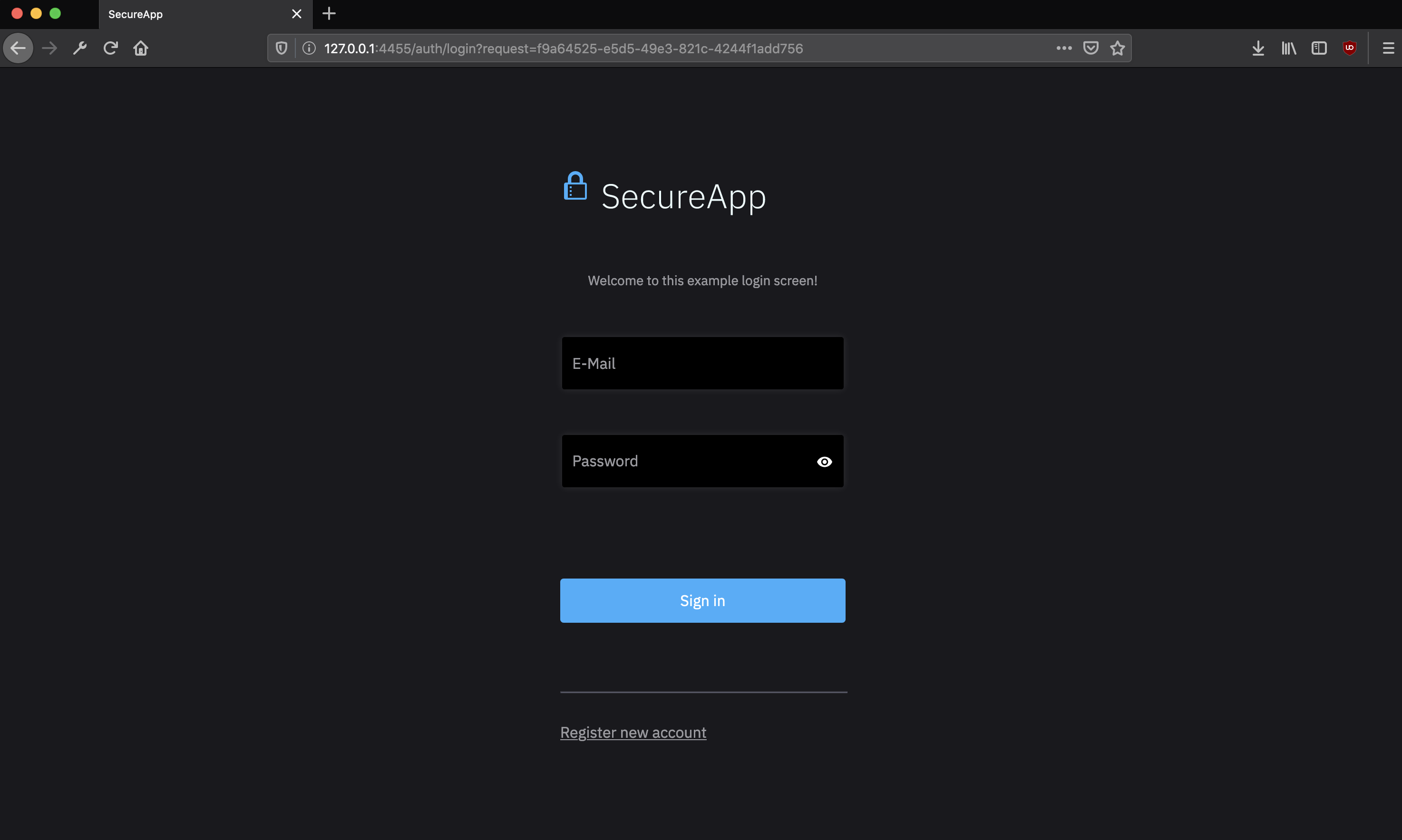 Login screen of your secured app