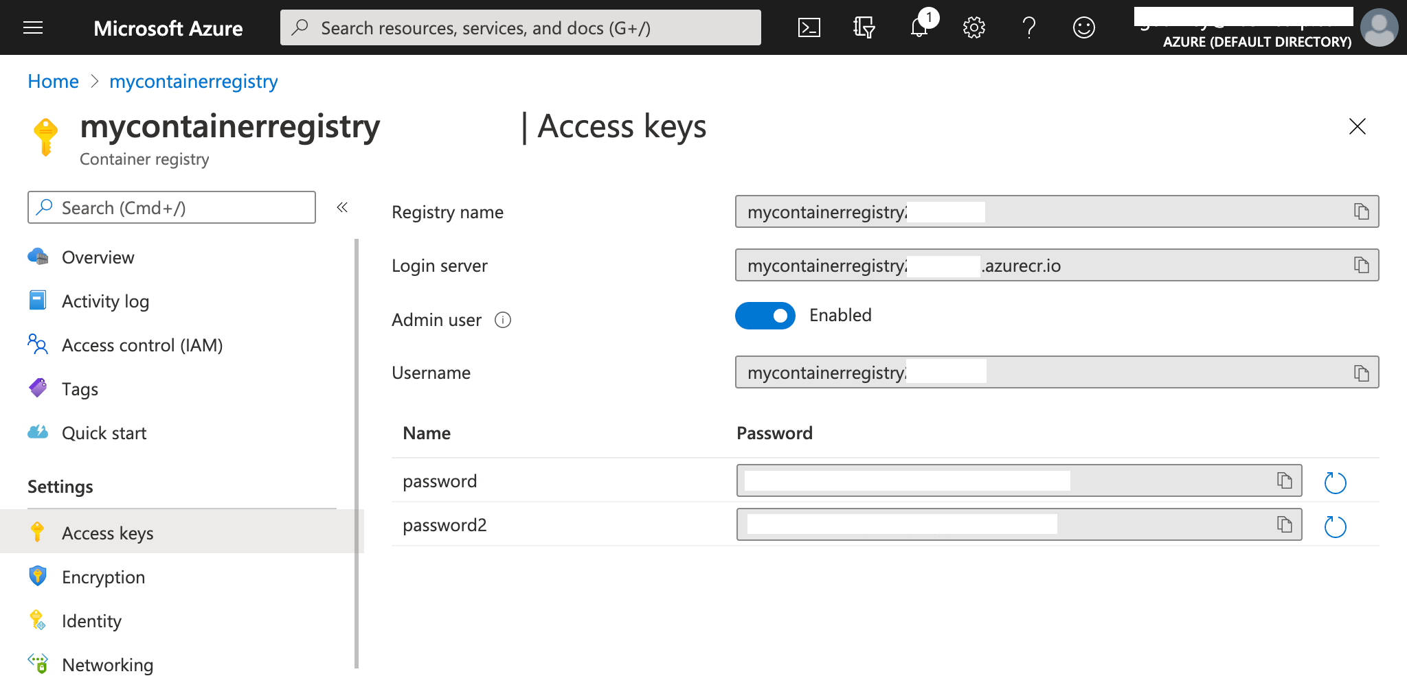 Registry access keys