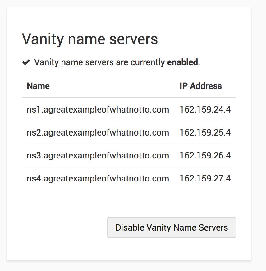 Disable Vanity Name Servers