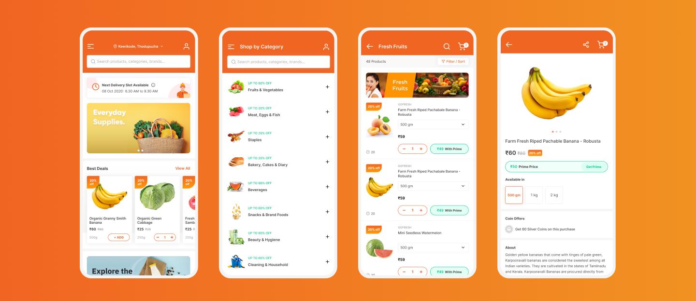 Online grocery app wireframe