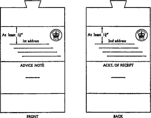 Flattened tongued envelope schematics. Front. Top has tongue that goes into a slot at the bottom. Middle had main face of folder is below the first fold and has Official paid royal mail stamp with space for 1st address, at least 1 1/2 inches below the top of the face. Bottom section has title ADVICE NOTE, and the slot for the tongue. Back. Top has tongue that goes into a slot at the bottom. Middle had main face of folder is below the first fold and has Official paid royal mail stamp with space for 2nd address, at least 1 1/2 inches below the top of the face. Bottom section has title ACKT. OF RECEIPT, and the slot for the tongue