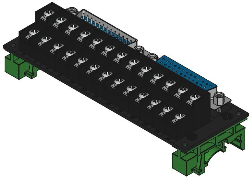 DB25MF-TB2X13をDINレール取付けする際の組立完成図