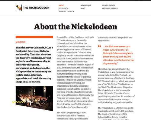 Screenshot of the top portion of the Nickelodeon about page, which has a newspaper-esque layout
