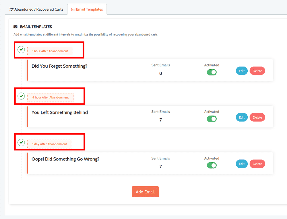 Email sequence set up