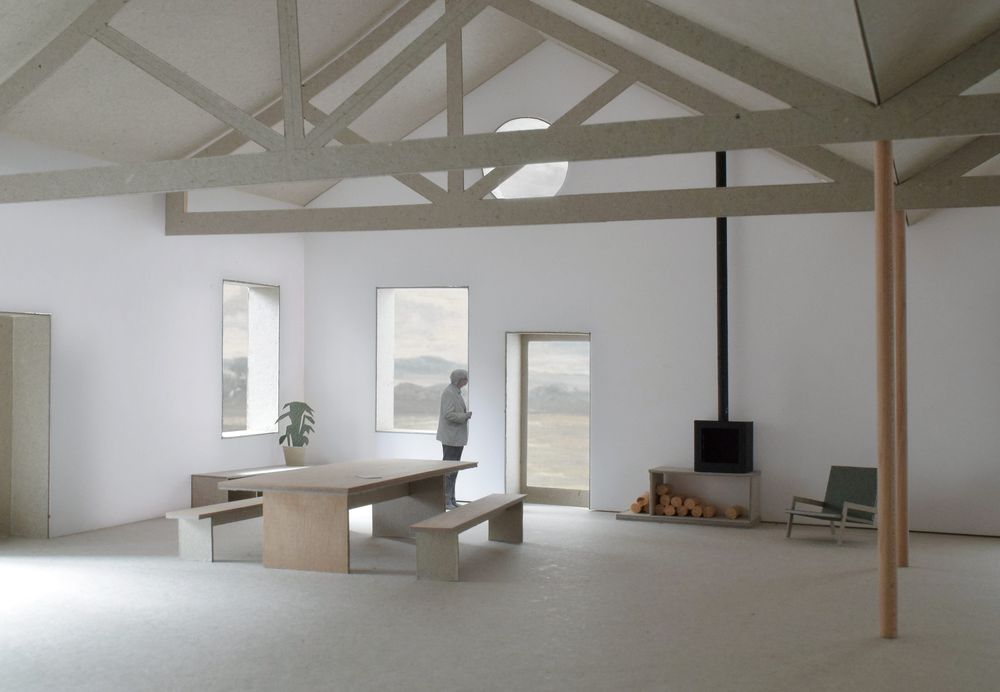 Interior view of the proposed dining space within the stone barns buildings in the Lake District designed by From Works.