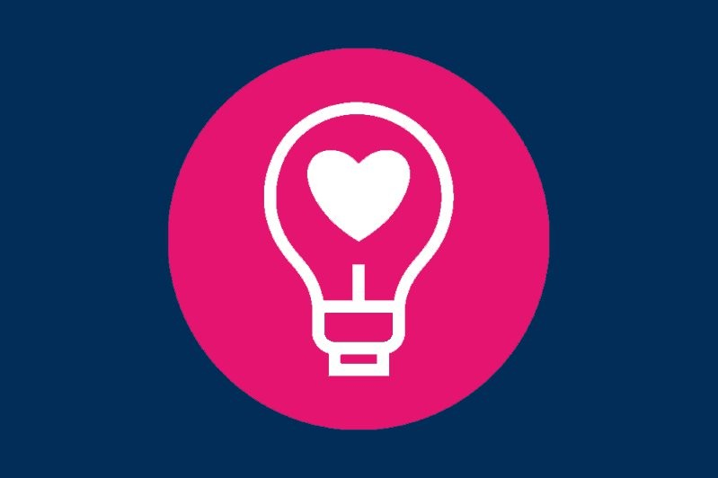 Icon of a lightbulb with a heart inside of it to represent Feel