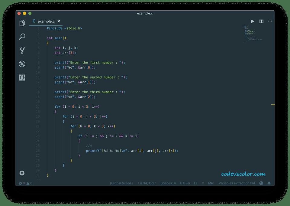 C program find combination three numbers