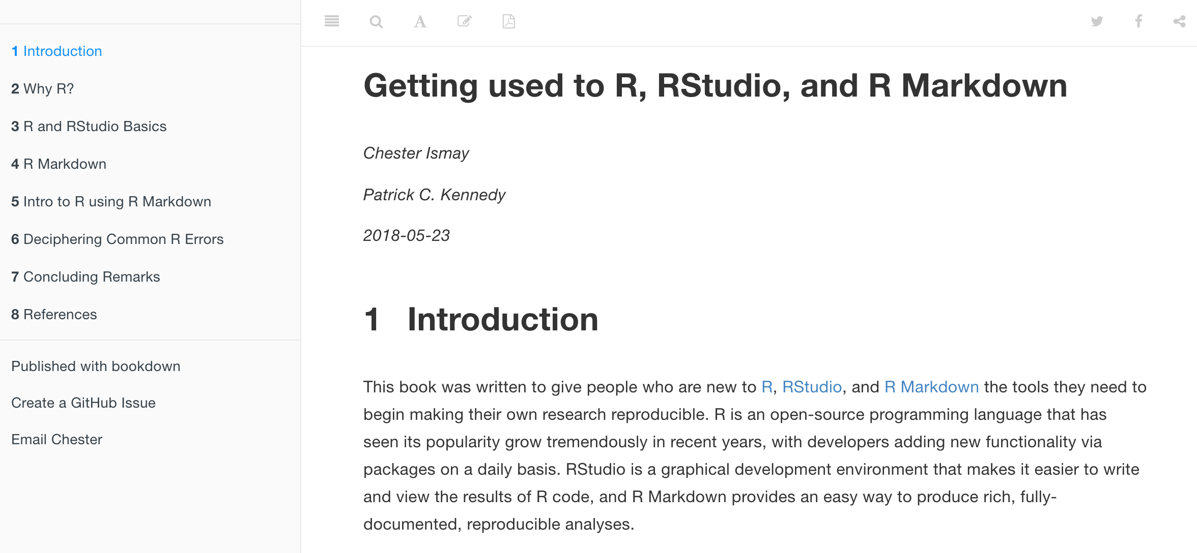 Preview of Getting used to R, RStudio, and R Markdown book.