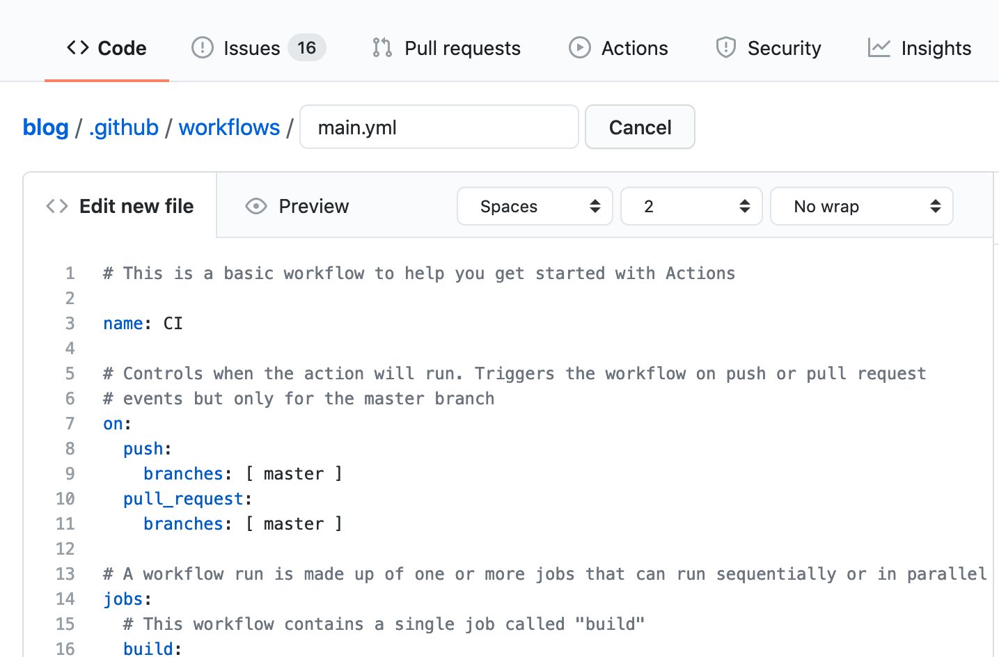 Workflow editor page