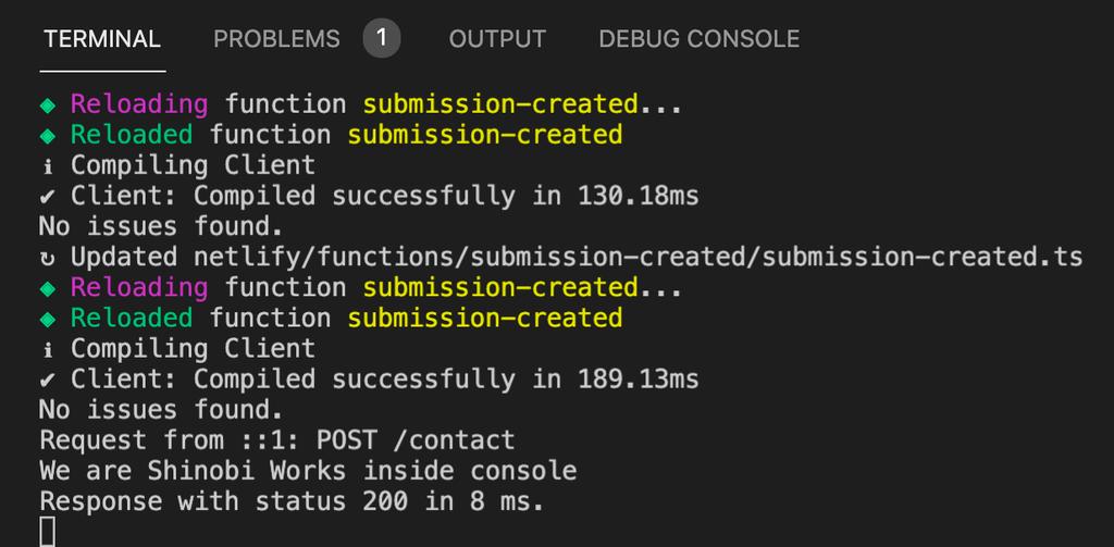 Netlify Funtions実行時のターミナル画面