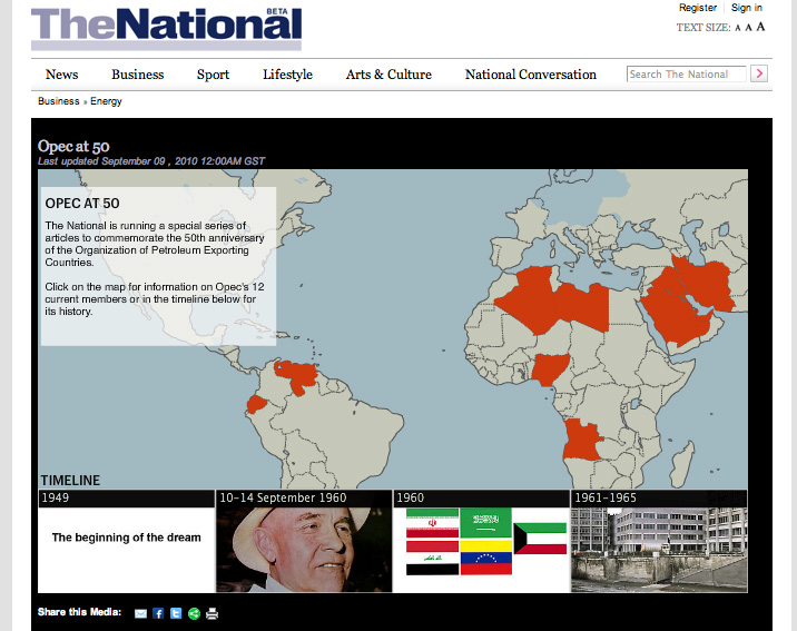 Screenshot showing the cover of the Opec at 50 interactive on a desktop