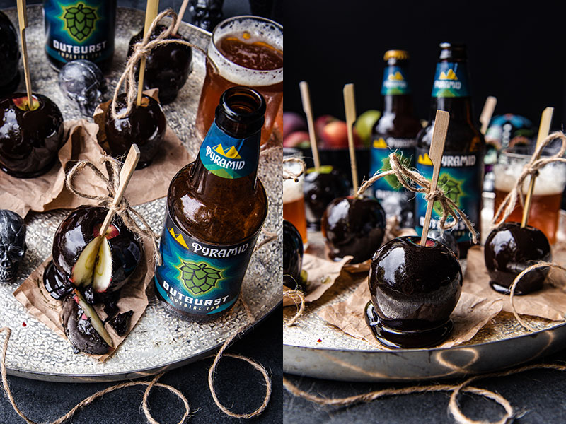 (Left) Halloween snack recipe candied caramel apples with ale. (Right) Beer-infused Halloween recipe treat caramelized apples